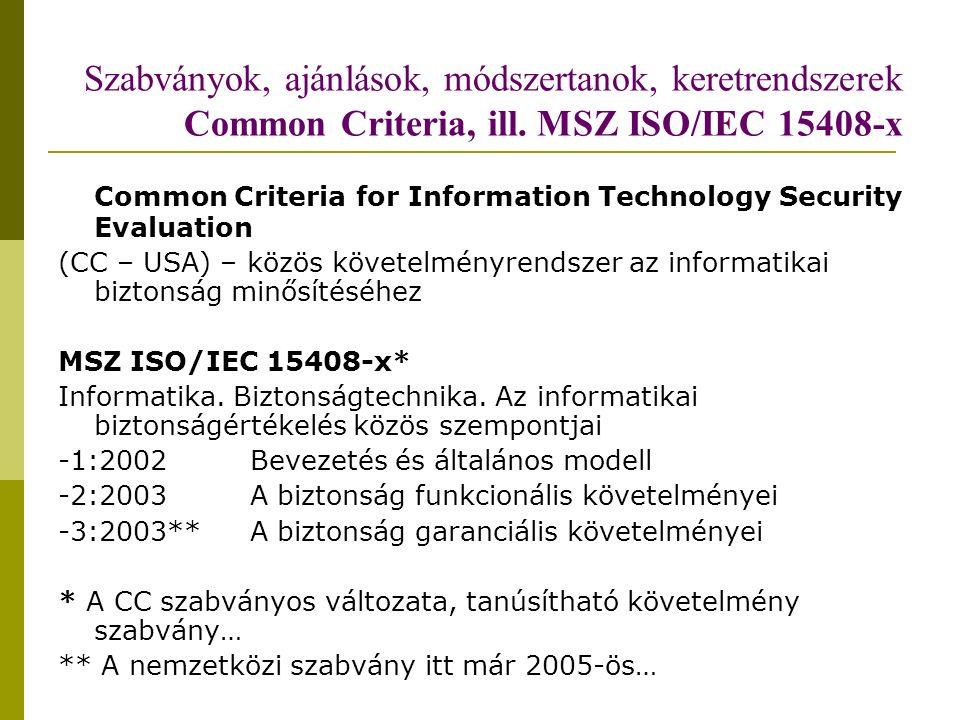 Szabványok, ajánlások, módszertanok, keretrendszerek Common Criteria, ill.