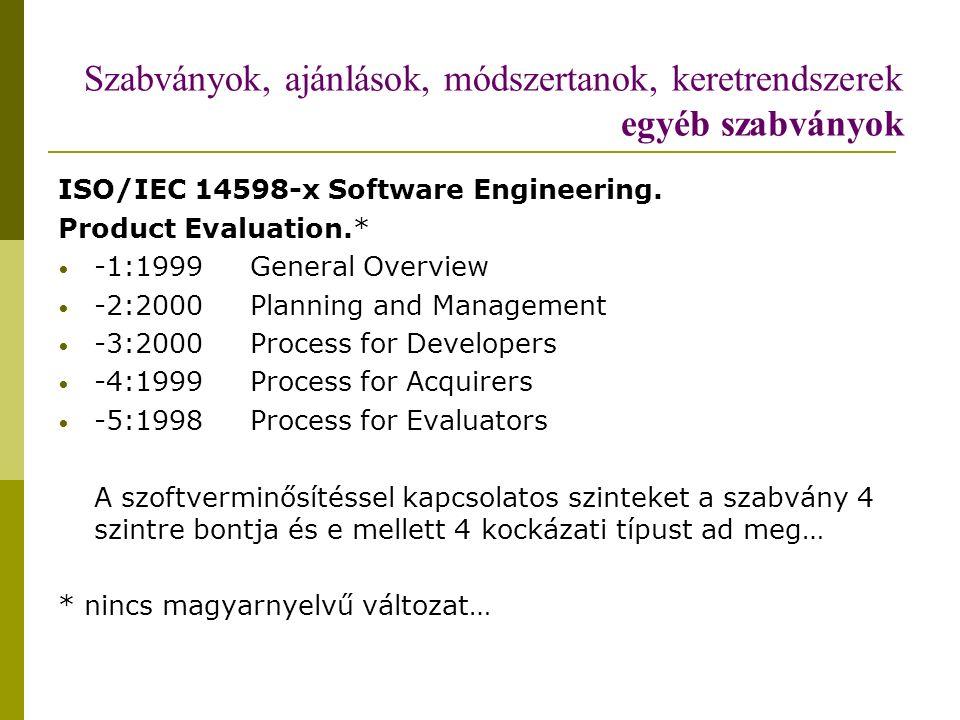 Szabványok, ajánlások, módszertanok, keretrendszerek egyéb szabványok ISO/IEC 14598-x Software Engineering.