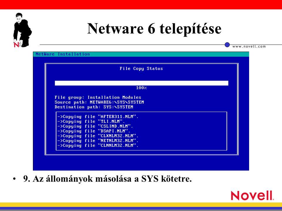 Netware 6 telepítése 9. Az állományok másolása a SYS kötetre.