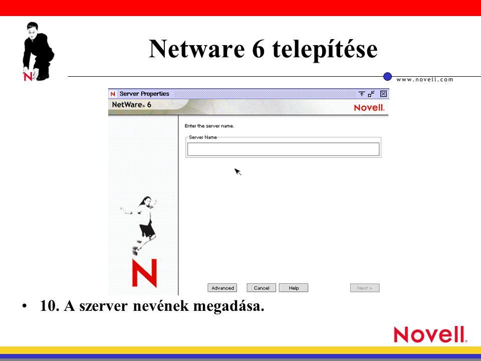 Netware 6 telepítése 10. A szerver nevének megadása.
