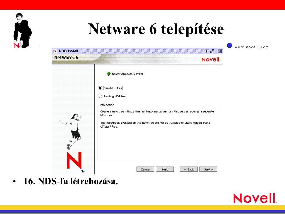 Netware 6 telepítése 16. NDS-fa létrehozása.