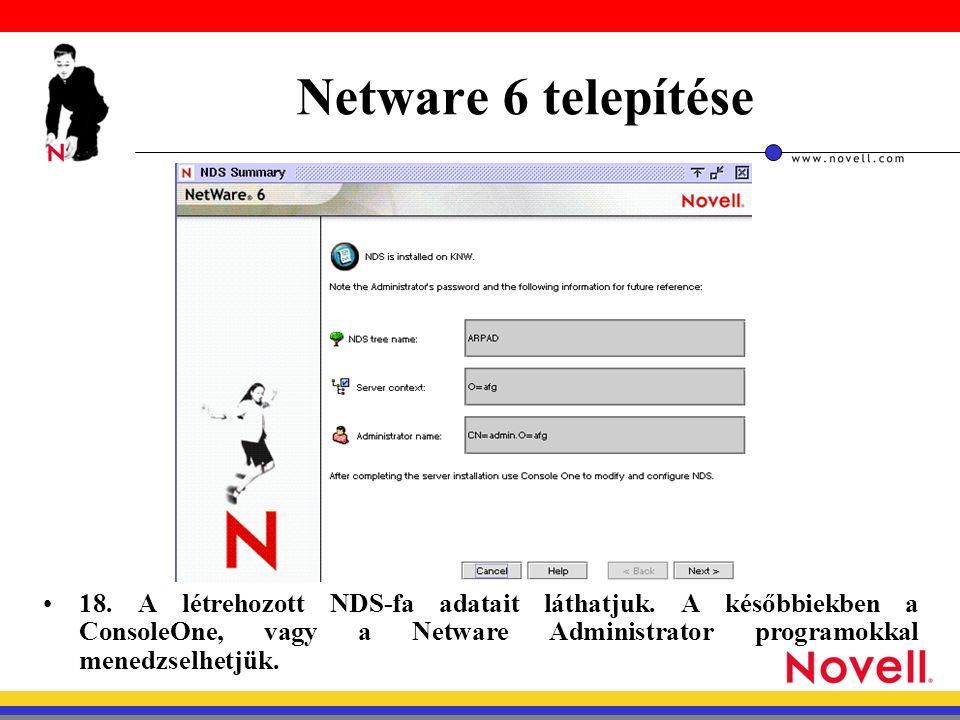 Netware 6 telepítése 18. A létrehozott NDS-fa adatait láthatjuk.