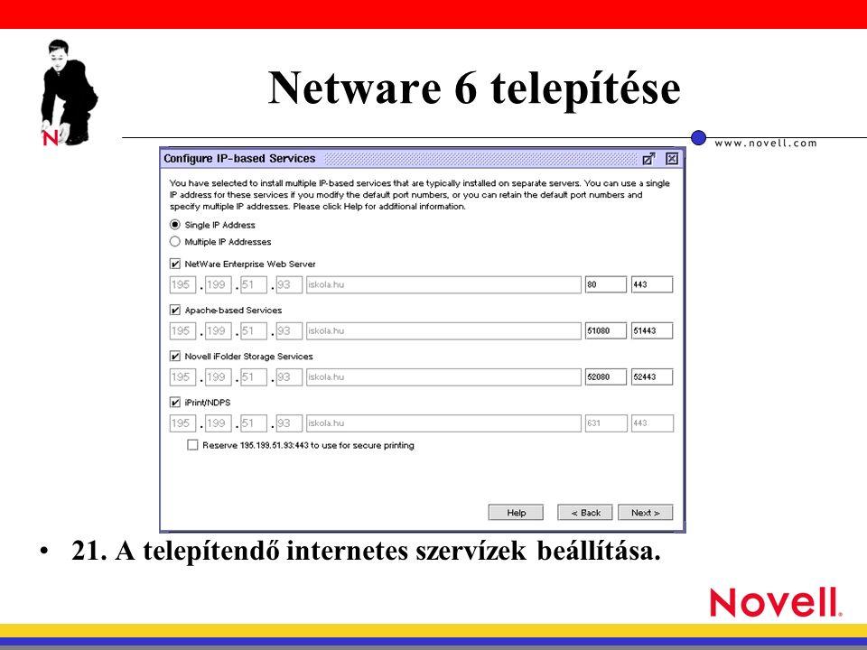 Netware 6 telepítése 21. A telepítendő internetes szervízek beállítása.