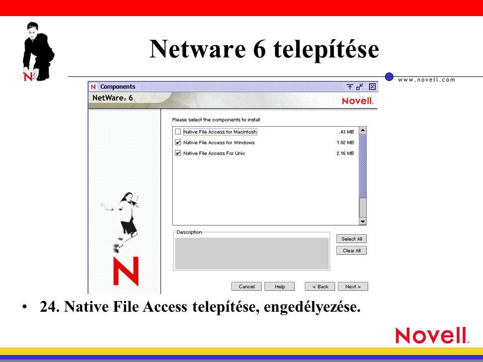 Netware 6 telepítése 24. Native File Access telepítése, engedélyezése.