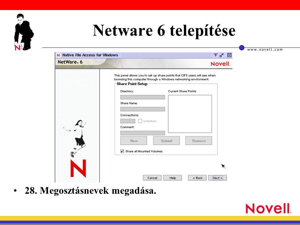 Netware 6 telepítése 28. Megosztásnevek megadása.