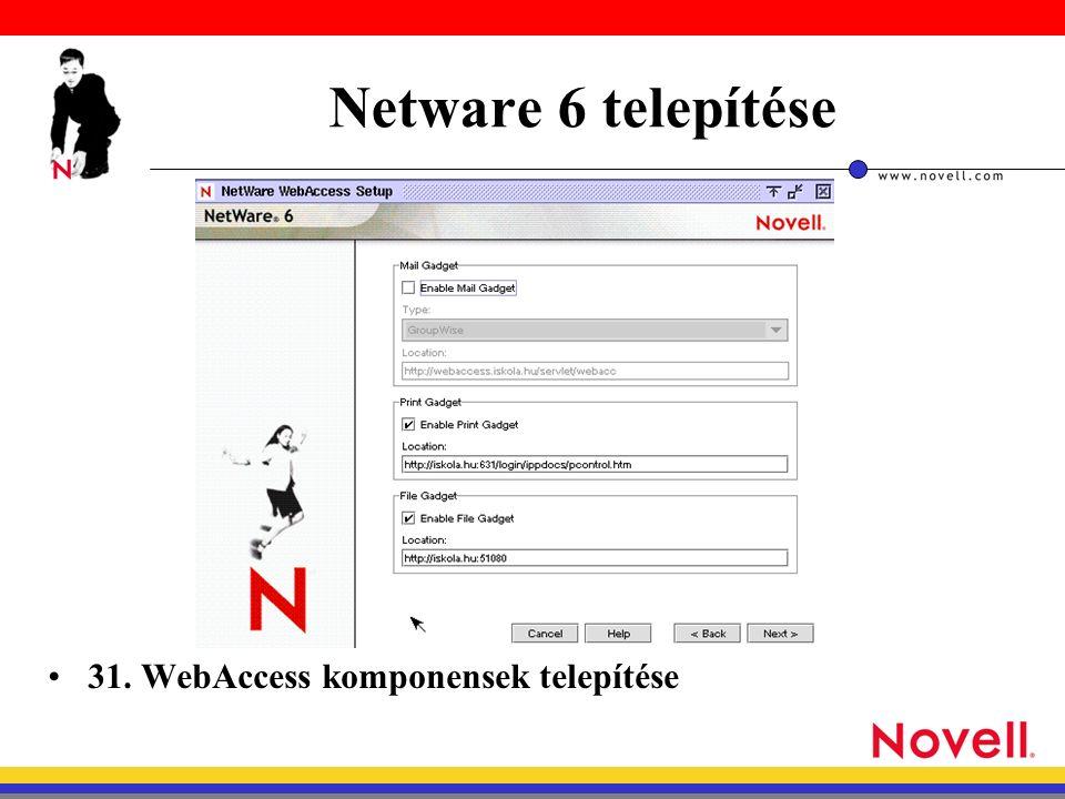 Netware 6 telepítése 31. WebAccess komponensek telepítése