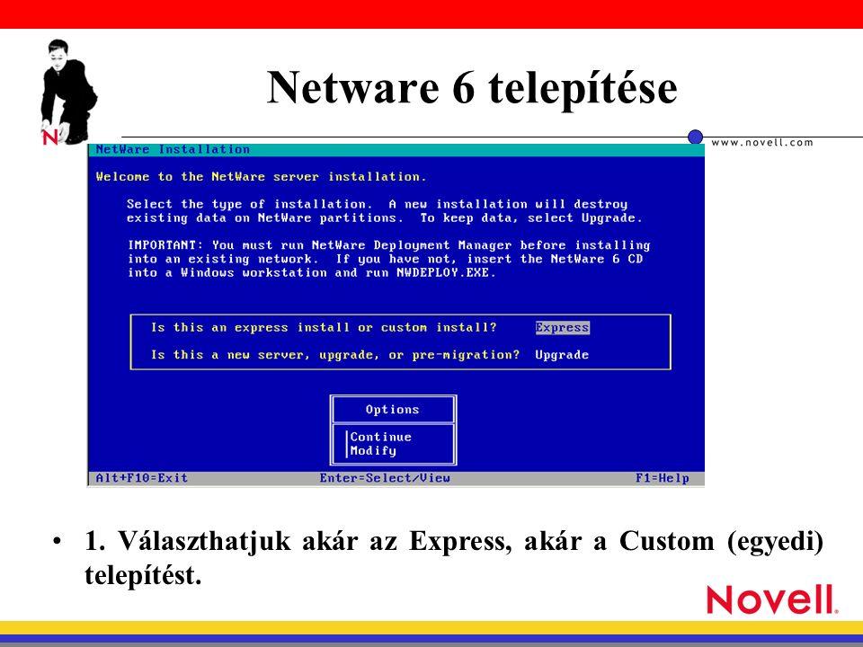 Netware 6 telepítése 1. Választhatjuk akár az Express, akár a Custom (egyedi) telepítést.