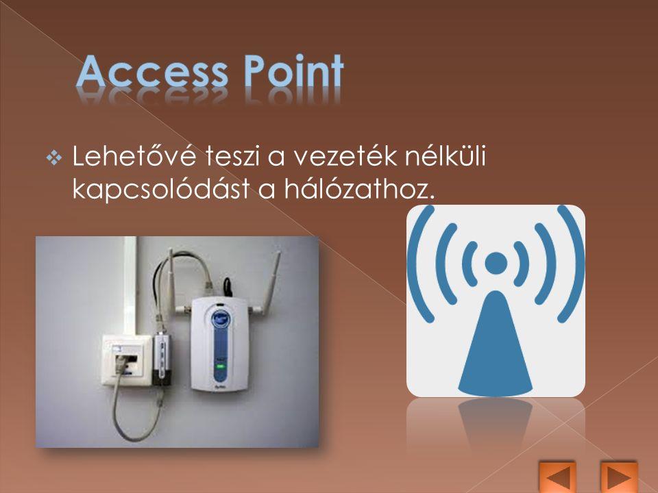  Lehetővé teszi a vezeték nélküli kapcsolódást a hálózathoz.