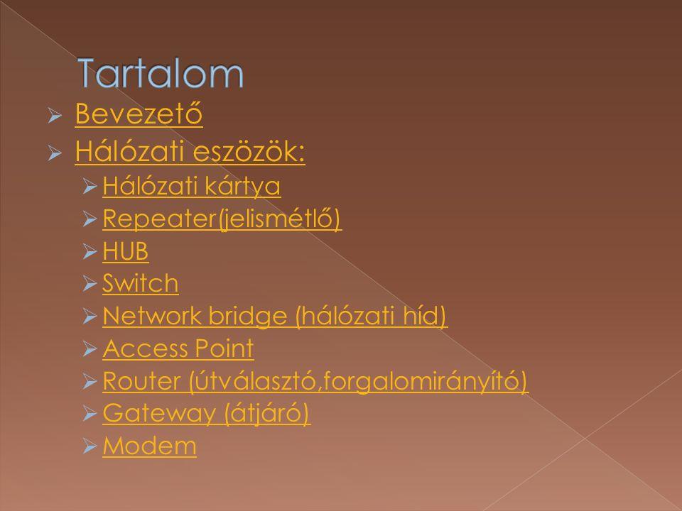  Bevezető Bevezető  Hálózati eszözök: Hálózati eszözök:  Hálózati kártya Hálózati kártya  Repeater(jelismétlő) Repeater(jelismétlő)  HUB HUB  Switch Switch  Network bridge (hálózati híd) Network bridge (hálózati híd)  Access Point Access Point  Router (útválasztó,forgalomirányító) Router (útválasztó,forgalomirányító)  Gateway (átjáró) Gateway (átjáró)  Modem Modem