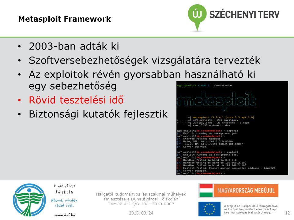 Metasploit Framework 2003-ban adták ki Szoftversebezhetőségek vizsgálatára tervezték Az exploitok révén gyorsabban használható ki egy sebezhetőség Rövid tesztelési idő Biztonsági kutatók fejlesztik 2016.
