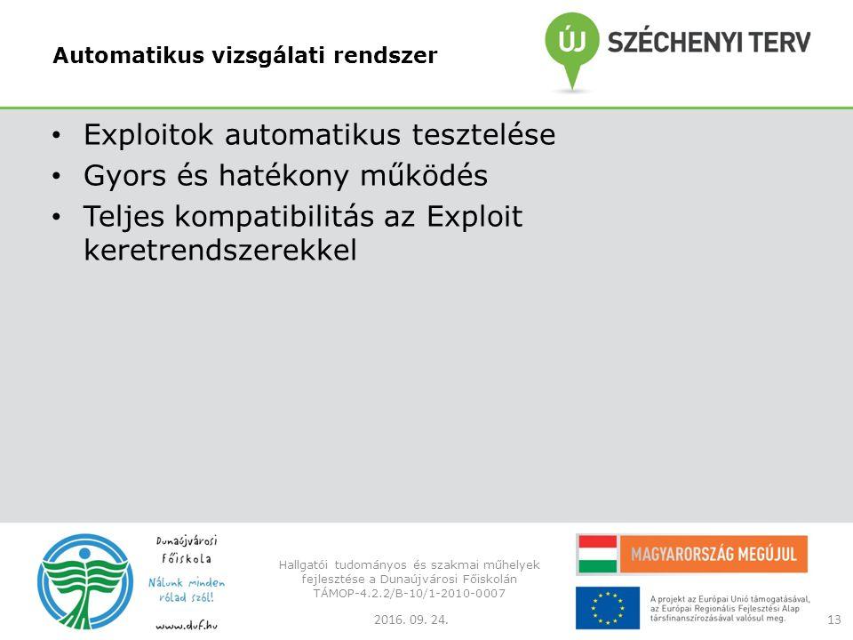 Automatikus vizsgálati rendszer Exploitok automatikus tesztelése Gyors és hatékony működés Teljes kompatibilitás az Exploit keretrendszerekkel 2016.