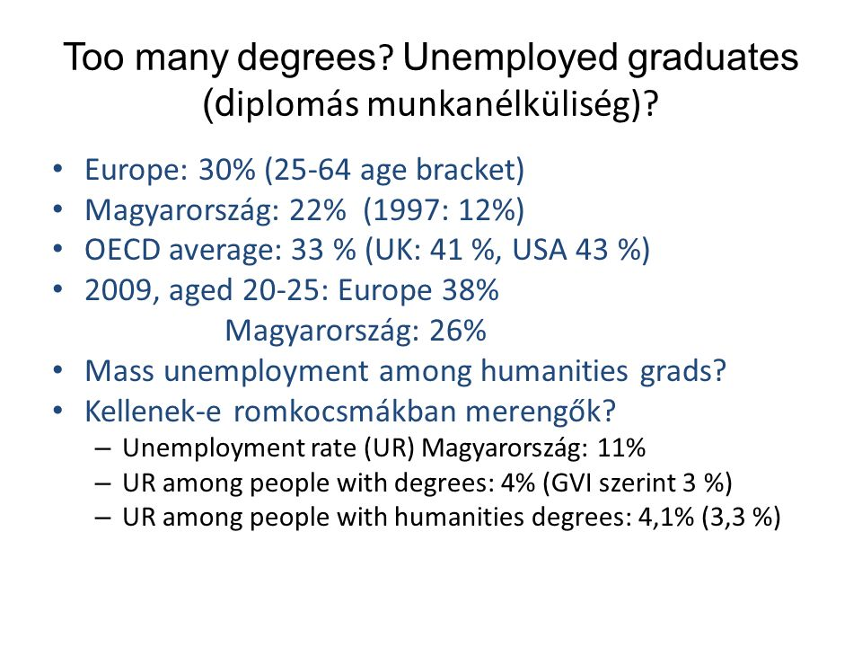 Too many degrees ? Unemployed graduates (d iplomás munkanélküliség)? Europe: 30% (25-64 age bracket) Magyarország: 22% (1997: 12%) OECD average: 33 %
