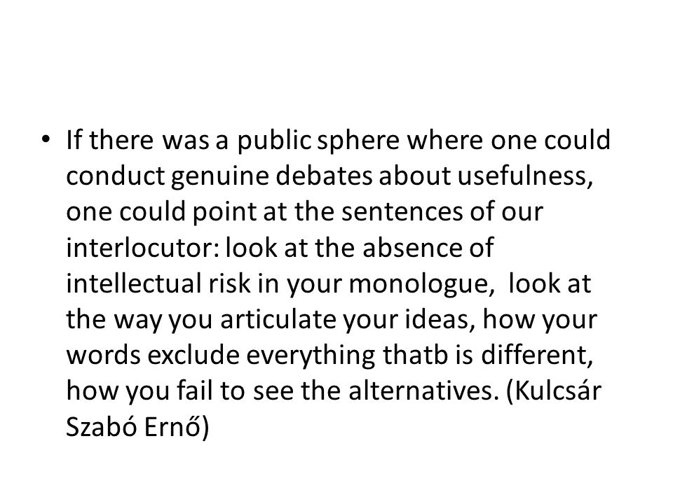 If there was a public sphere where one could conduct genuine debates about usefulness, one could point at the sentences of our interlocutor: look at the absence of intellectual risk in your monologue, look at the way you articulate your ideas, how your words exclude everything thatb is different, how you fail to see the alternatives.