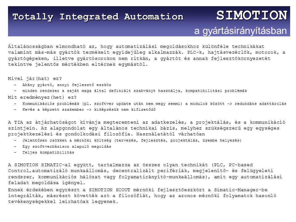 Totally Integrated Automation SIMOTION Totally Integrated Automation SIMOTION a gyártásirányításban Általánosságban elmondható az, hogy automatizálási megoldásokhoz különféle technikákat valamint más-más gyártók termékeit egyidejűleg alkalmazzák.