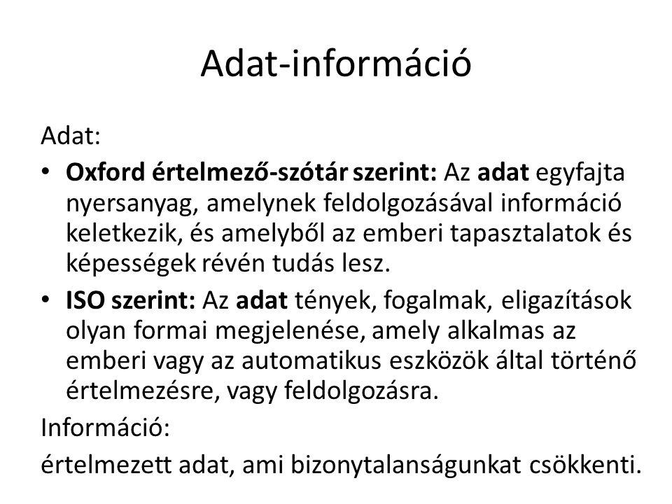 Adatmodell Adatmodell: – Nem a konkrét adatokkal, hanem azok típusaival illetve a közöttük lévő kapcsolatokkal foglalkozik.