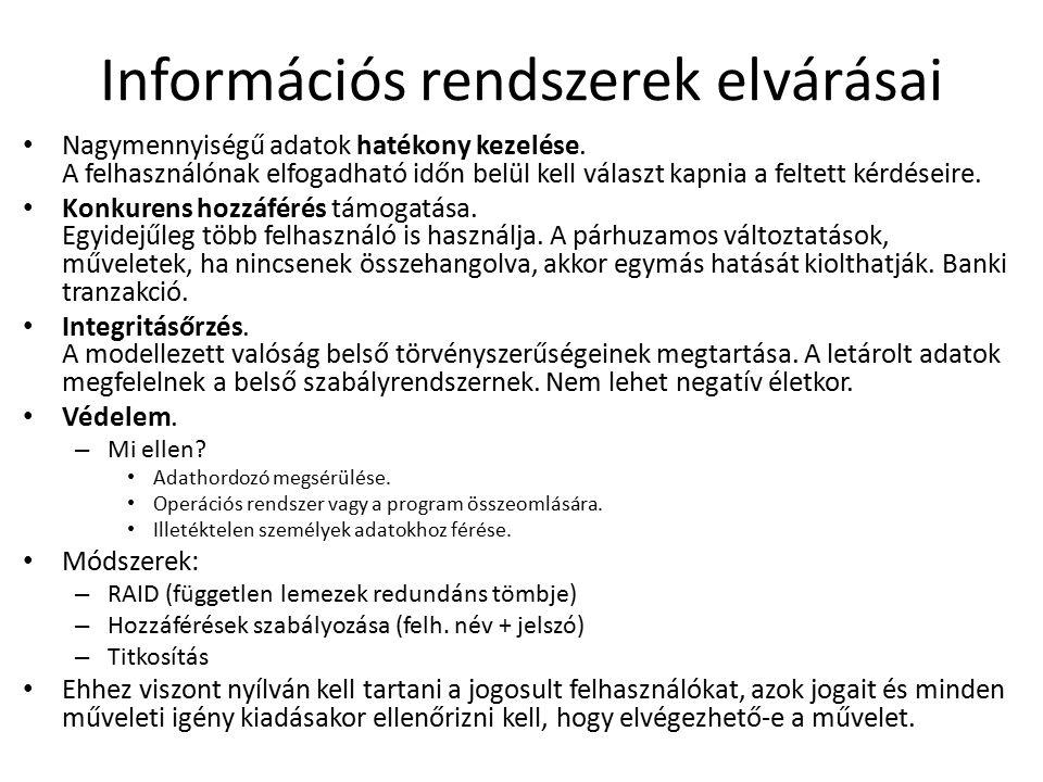 Információs rendszerek elvárásai Nagymennyiségű adatok hatékony kezelése.