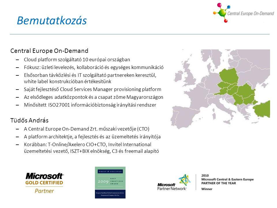 Bemutatkozás Central Europe On-Demand – Cloud platform szolgáltató 10 európai országban – Fókusz: üzleti levelezés, kollaboráció és egységes kommunikáció – Elsősorban távközlési és IT szolgáltató partnereken keresztül, white label konstrukcióban értékesítünk – Saját fejlesztéső Cloud Services Manager provisioning platform – Az elsődleges adatközpontok és a csapat zöme Magyarországon – Minősített ISO27001 információbiztonság irányítási rendszer Tüdős András – A Central Europe On-Demand Zrt.