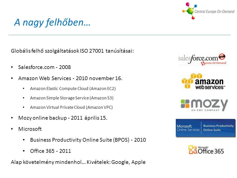A nagy felhőben… Globális felhő szolgáltatások ISO 27001 tanúsításai: Salesforce.com - 2008 Amazon Web Services - 2010 november 16.