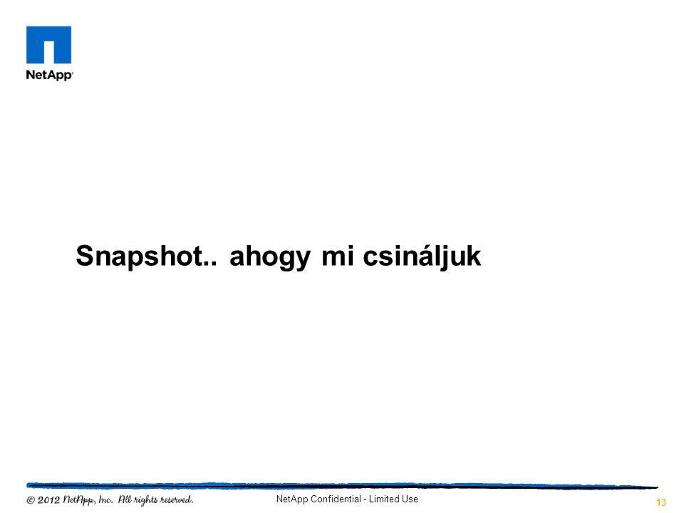 Snapshot.. ahogy mi csináljuk NetApp Confidential - Limited Use 13