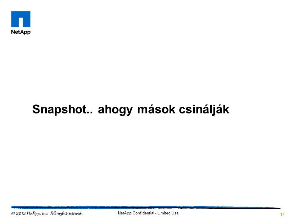 Snapshot.. ahogy mások csinálják NetApp Confidential - Limited Use 17