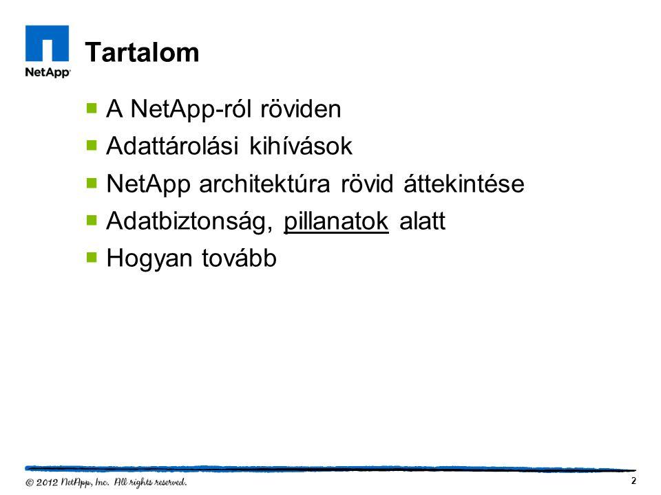 Tartalom  A NetApp-ról röviden  Adattárolási kihívások  NetApp architektúra rövid áttekintése  Adatbiztonság, pillanatok alatt  Hogyan tovább 2