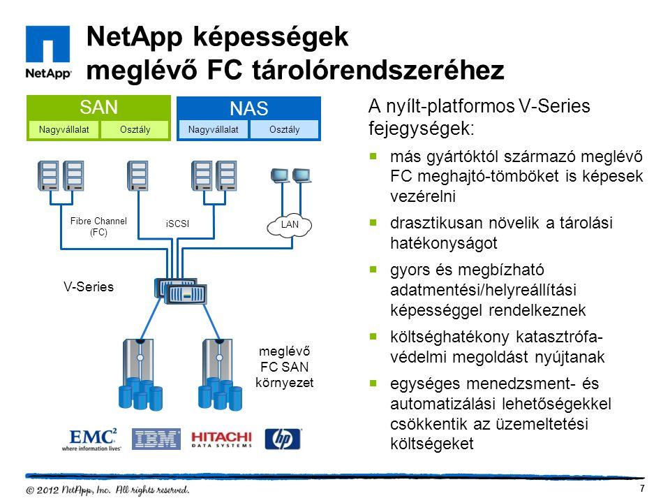 NetApp képességek meglévő FC tárolórendszeréhez A nyílt-platformos V-Series fejegységek:  más gyártóktól származó meglévő FC meghajtó-tömböket is képesek vezérelni  drasztikusan növelik a tárolási hatékonyságot  gyors és megbízható adatmentési/helyreállítási képességgel rendelkeznek  költséghatékony katasztrófa- védelmi megoldást nyújtanak  egységes menedzsment- és automatizálási lehetőségekkel csökkentik az üzemeltetési költségeket 7 iSCSI Fibre Channel (FC) V-Series OsztályNagyvállalat SAN Nagyvállalat NAS Osztály LAN meglévő FC SAN környezet