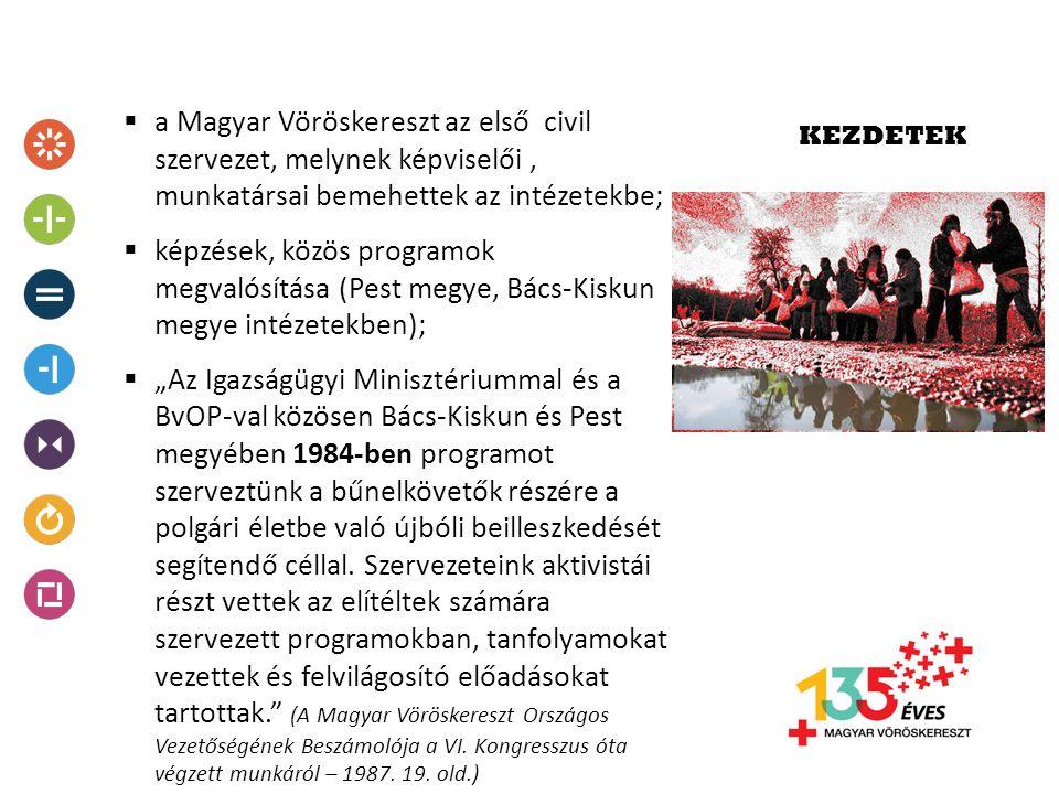 """KEZDETEK  a Magyar Vöröskereszt az első civil szervezet, melynek képviselői, munkatársai bemehettek az intézetekbe;  képzések, közös programok megvalósítása (Pest megye, Bács-Kiskun megye intézetekben);  """"Az Igazságügyi Minisztériummal és a BvOP-val közösen Bács-Kiskun és Pest megyében 1984-ben programot szerveztünk a bűnelkövetők részére a polgári életbe való újbóli beilleszkedését segítendő céllal."""