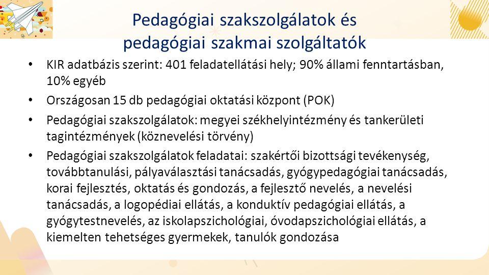 Pedagógiai szakszolgálatok és pedagógiai szakmai szolgáltatók KIR adatbázis szerint: 401 feladatellátási hely; 90% állami fenntartásban, 10% egyéb Országosan 15 db pedagógiai oktatási központ (POK) Pedagógiai szakszolgálatok: megyei székhelyintézmény és tankerületi tagintézmények (köznevelési törvény) Pedagógiai szakszolgálatok feladatai: szakértői bizottsági tevékenység, továbbtanulási, pályaválasztási tanácsadás, gyógypedagógiai tanácsadás, korai fejlesztés, oktatás és gondozás, a fejlesztő nevelés, a nevelési tanácsadás, a logopédiai ellátás, a konduktív pedagógiai ellátás, a gyógytestnevelés, az iskolapszichológiai, óvodapszichológiai ellátás, a kiemelten tehetséges gyermekek, tanulók gondozása