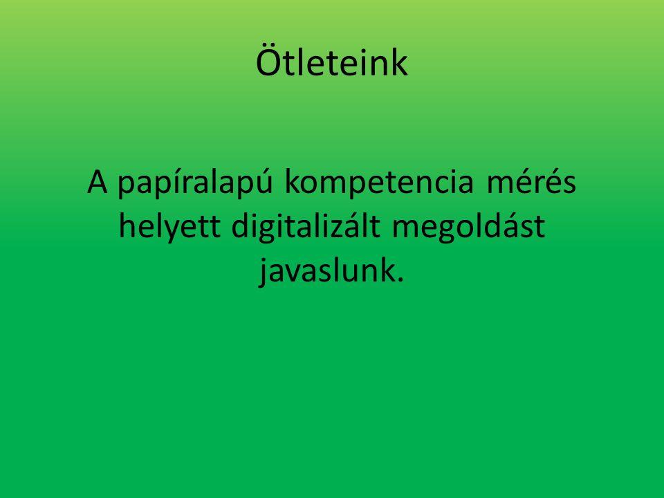 Ötleteink A papíralapú kompetencia mérés helyett digitalizált megoldást javaslunk.