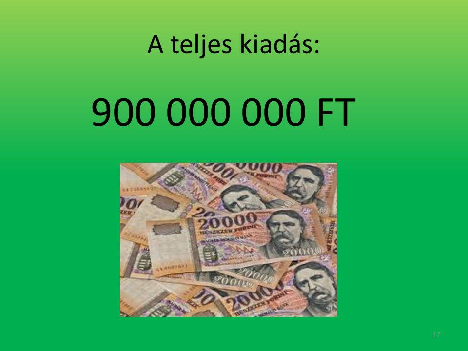 A teljes kiadás: 900 000 000 FT 17