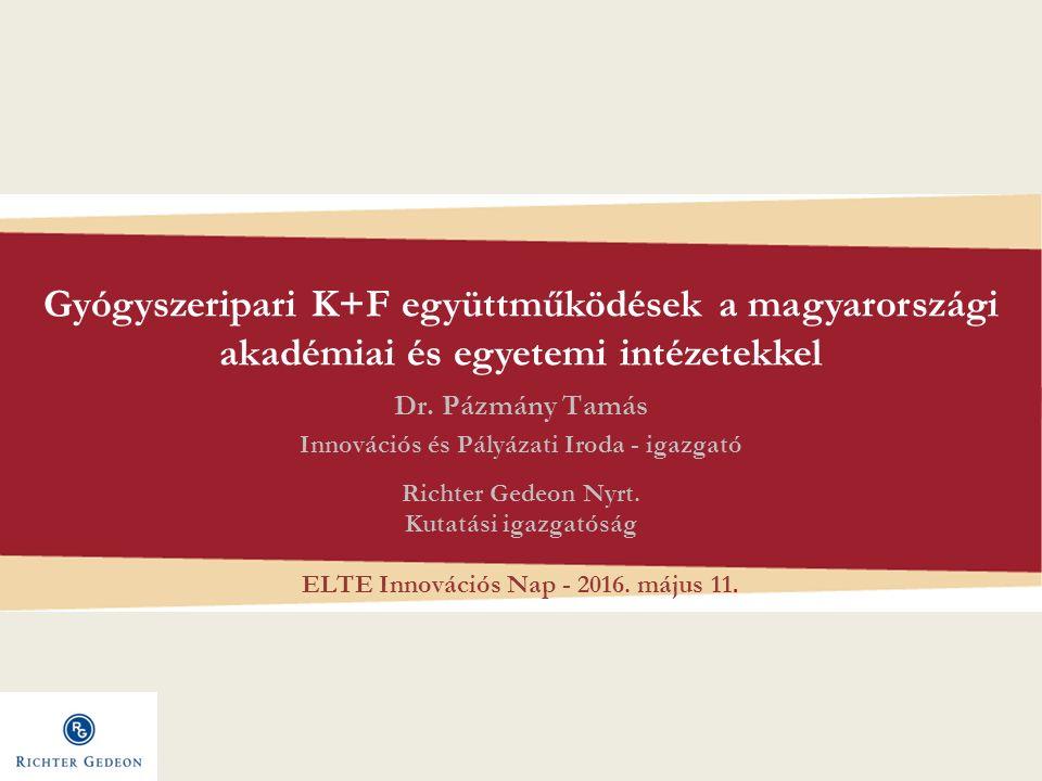 Gyógyszeripari K+F együttműködések a magyarországi akadémiai és egyetemi intézetekkel Dr.