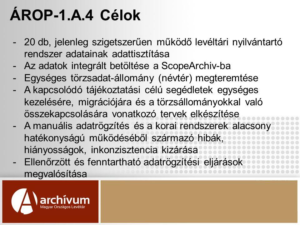 ÁROP-1.A.4 Célok -20 db, jelenleg szigetszerűen működő levéltári nyilvántartó rendszer adatainak adattisztítása -Az adatok integrált betöltése a ScopeArchiv-ba -Egységes törzsadat-állomány (névtér) megteremtése -A kapcsolódó tájékoztatási célú segédletek egységes kezelésére, migrációjára és a törzsállományokkal való összekapcsolására vonatkozó tervek elkészítése -A manuális adatrögzítés és a korai rendszerek alacsony hatékonyságú működéséből származó hibák, hiányosságok, inkonzisztencia kizárása -Ellenőrzött és fenntartható adatrögzítési eljárások megvalósítása