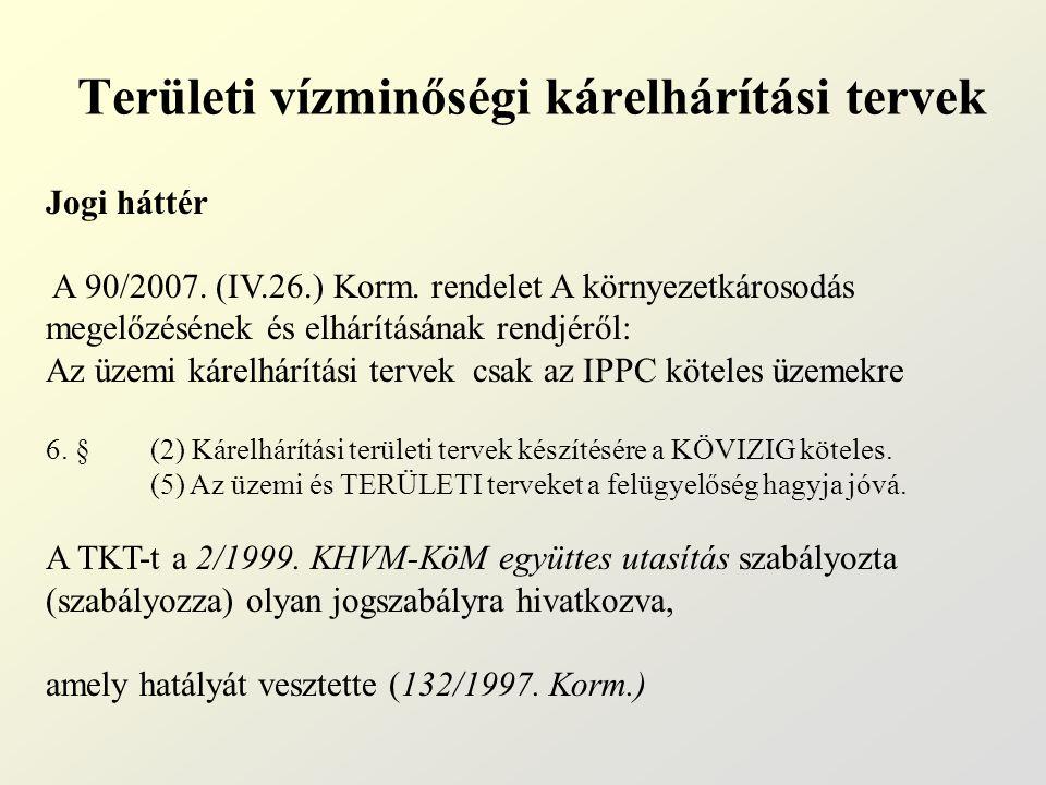 Területi vízminőségi kárelhárítási tervek Jogi háttér A 90/2007. (IV.26.) Korm. rendelet A környezetkárosodás megelőzésének és elhárításának rendjéről