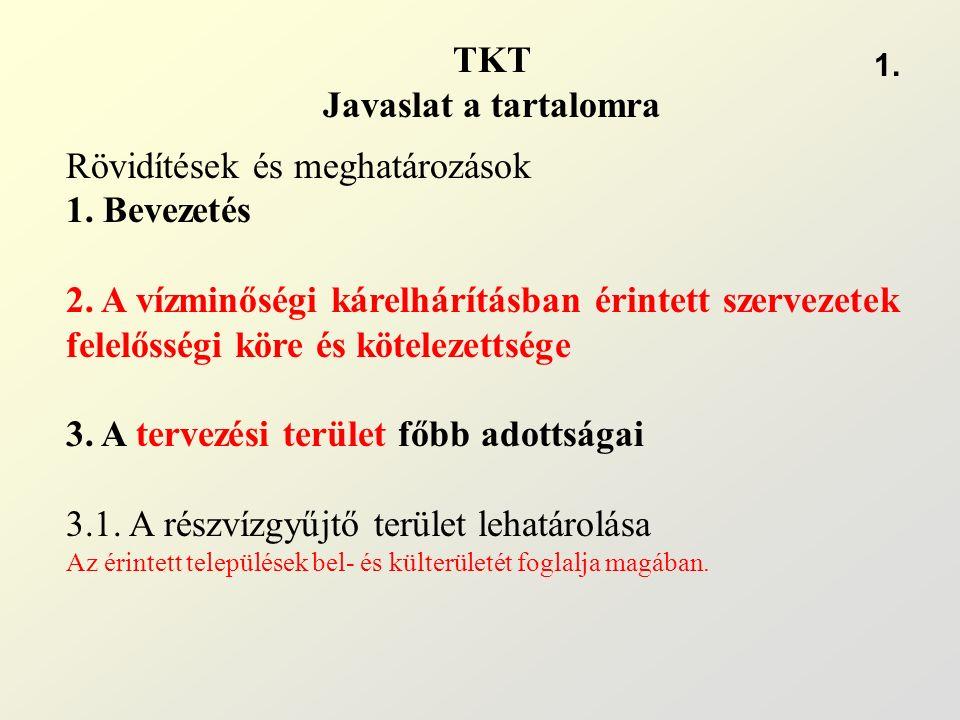 TKT Javaslat a tartalomra Rövidítések és meghatározások 1. Bevezetés 2. A vízminőségi kárelhárításban érintett szervezetek felelősségi köre és kötelez