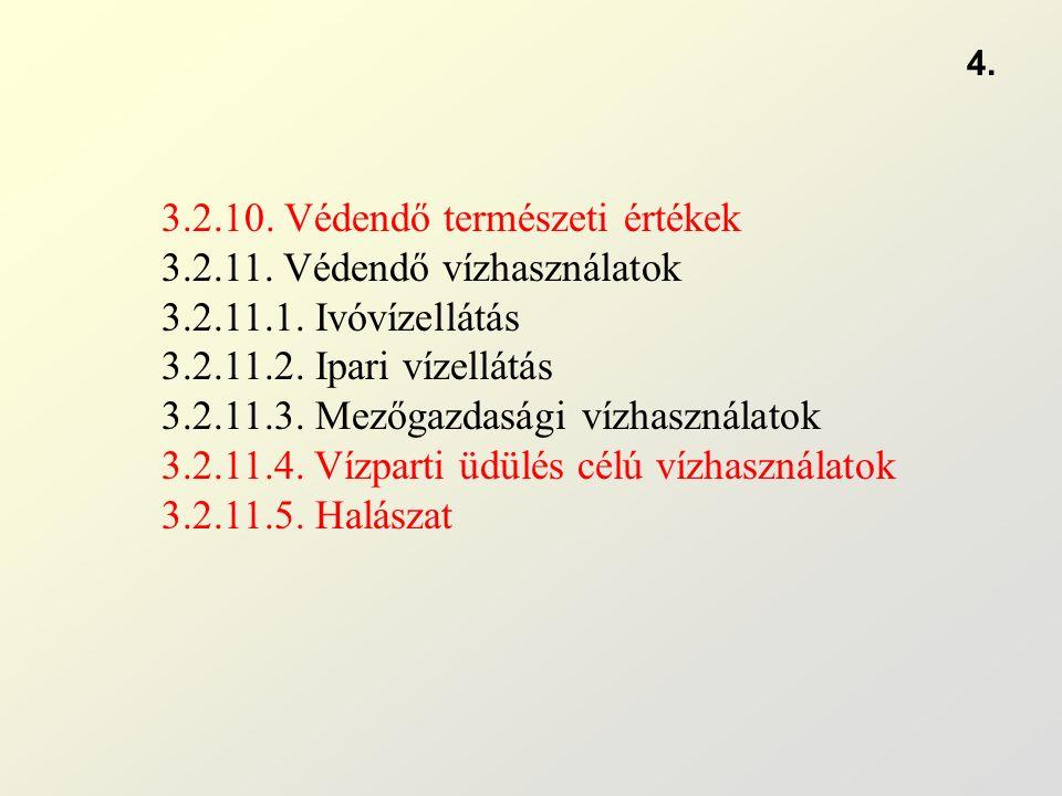 3.2.10. Védendő természeti értékek 3.2.11. Védendő vízhasználatok 3.2.11.1.