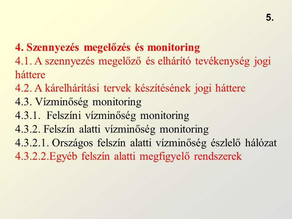 4. Szennyezés megelőzés és monitoring 4.1. A szennyezés megelőző és elhárító tevékenység jogi háttere 4.2. A kárelhárítási tervek készítésének jogi há