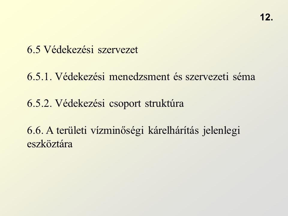 6.5 Védekezési szervezet 6.5.1. Védekezési menedzsment és szervezeti séma 6.5.2. Védekezési csoport struktúra 6.6. A területi vízminőségi kárelhárítás