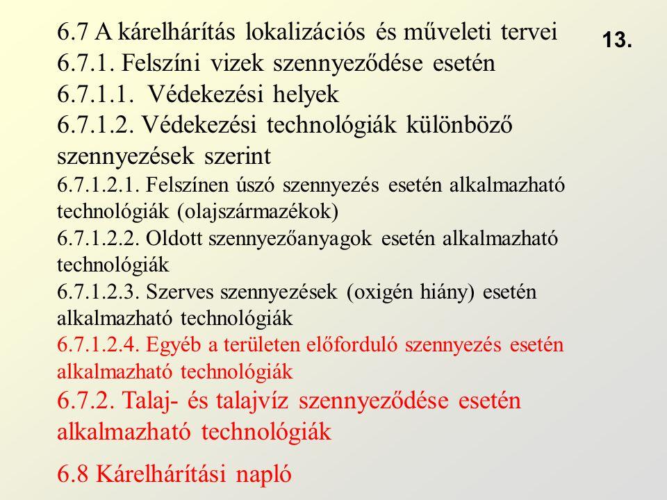 6.7 A kárelhárítás lokalizációs és műveleti tervei 6.7.1. Felszíni vizek szennyeződése esetén 6.7.1.1. Védekezési helyek 6.7.1.2. Védekezési technológ