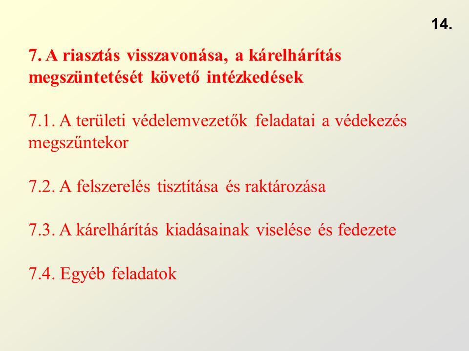 7. A riasztás visszavonása, a kárelhárítás megszüntetését követő intézkedések 7.1. A területi védelemvezetők feladatai a védekezés megszűntekor 7.2. A
