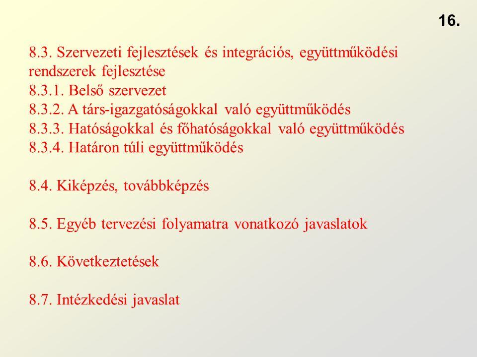 8.3. Szervezeti fejlesztések és integrációs, együttműködési rendszerek fejlesztése 8.3.1.