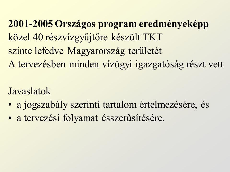 2001-2005 Országos program eredményeképp közel 40 részvízgyűjtőre készült TKT szinte lefedve Magyarország területét A tervezésben minden vízügyi igazgatóság részt vett Javaslatok a jogszabály szerinti tartalom értelmezésére, és a tervezési folyamat ésszerűsítésére.