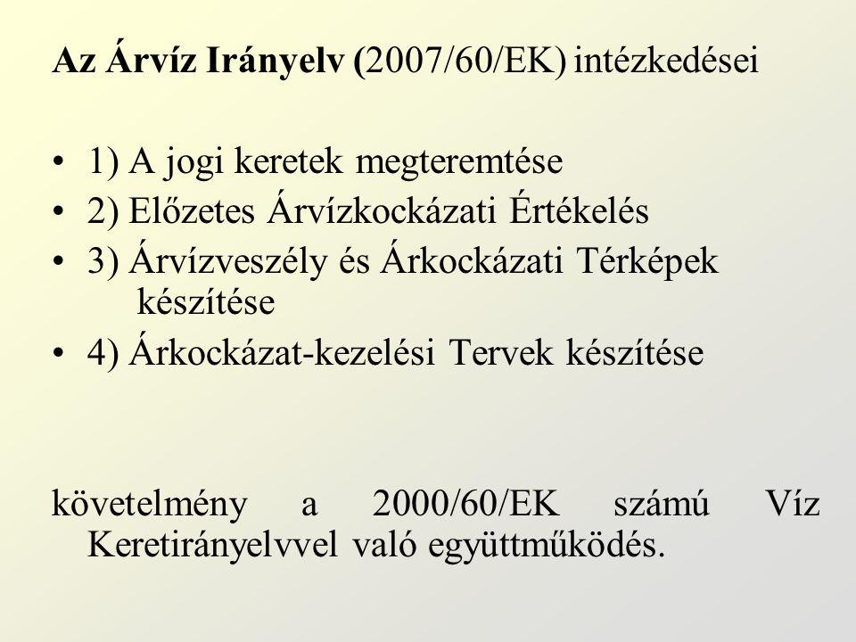 Az Árvíz Irányelv (2007/60/EK) intézkedései 1) A jogi keretek megteremtése 2) Előzetes Árvízkockázati Értékelés 3) Árvízveszély és Árkockázati Térképe
