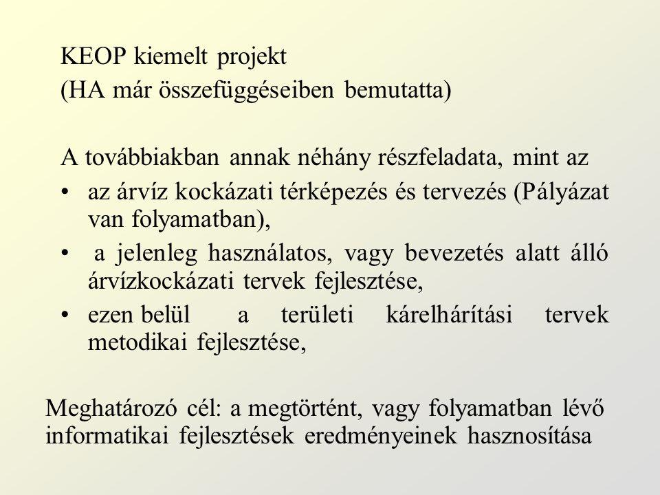 KEOP kiemelt projekt (HA már összefüggéseiben bemutatta) A továbbiakban annak néhány részfeladata, mint az az árvíz kockázati térképezés és tervezés (