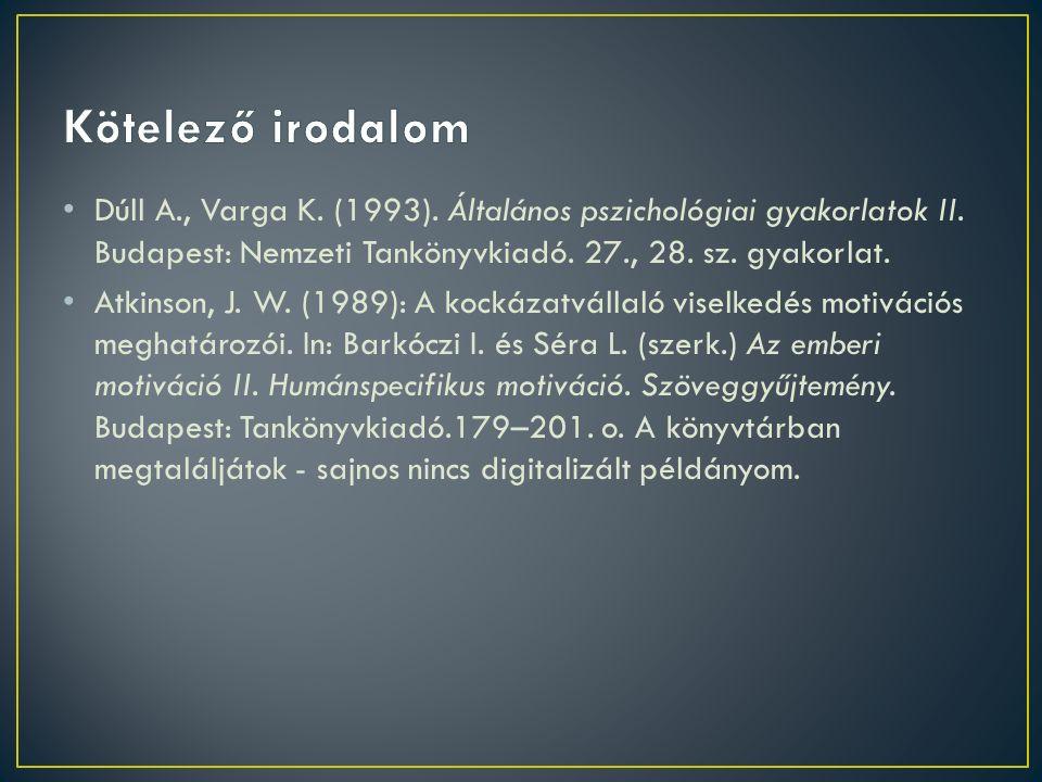 Dúll A., Varga K. (1993). Általános pszichológiai gyakorlatok II. Budapest: Nemzeti Tankönyvkiadó. 27., 28. sz. gyakorlat. Atkinson, J. W. (1989): A k