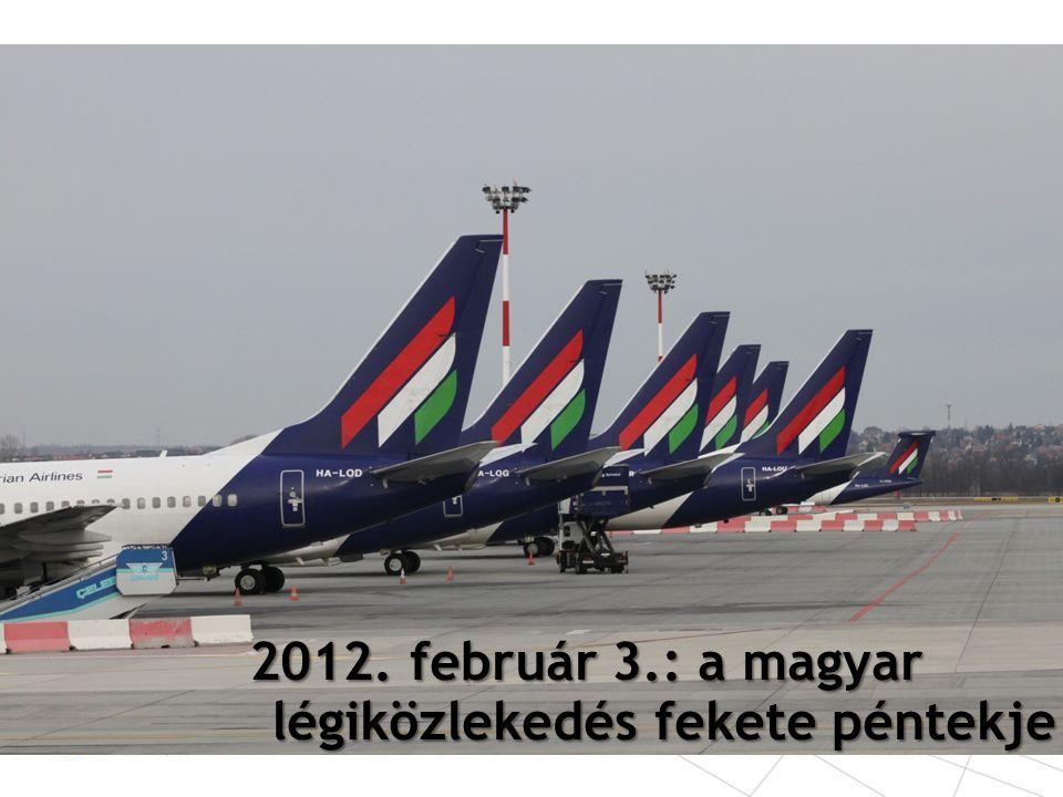 A Malév részesedése a BUD teljes utasforgalmából 36-40%-ot tett ki A Budapest Airport 2012-re tervezett bevételeinek fele kiesett 1,5 millió átszálló utast azonnal elvesztett a repülőtér A gépmozgások száma 110 000-ről (2011) 80 000-re esett vissza (a 2002-es szintre) További légitársaságok törölték budapesti járataikat átszálló utasok hiányában: – American Airlines JFK - New York – Hainan Airlines - Peking – Carpatair - Velence – Moldavian - Chisinau A Budapest Airport kritikus veszteségei