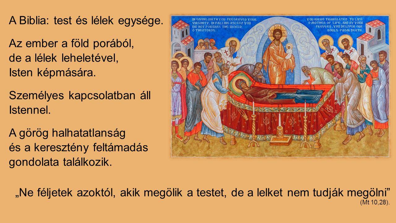 A Biblia: test és lélek egysége. Az ember a föld porából, de a lélek leheletével, Isten képmására. Személyes kapcsolatban áll Istennel. A görög halhat