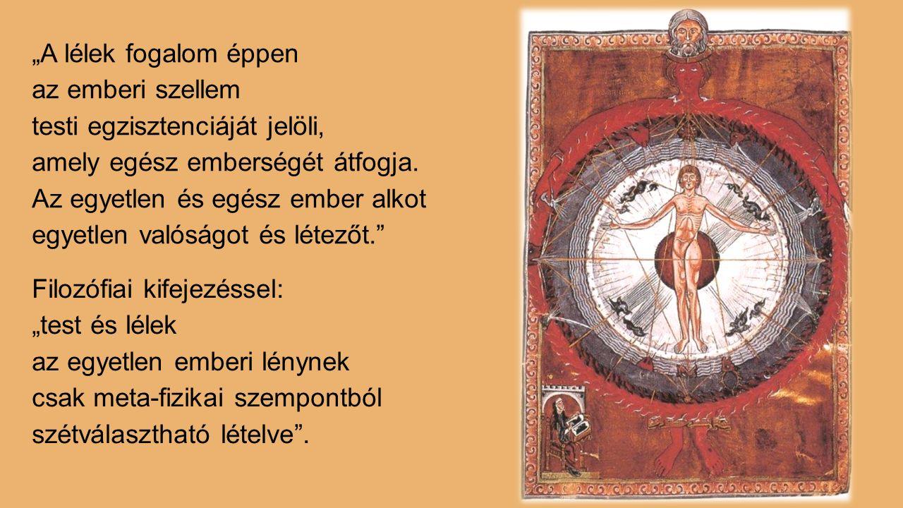 """""""A lélek fogalom éppen az emberi szellem testi egzisztenciáját jelöli, amely egész emberségét átfogja."""