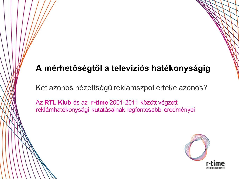 A mérhetőségtől a televíziós hatékonyságig Két azonos nézettségű reklámszpot értéke azonos.
