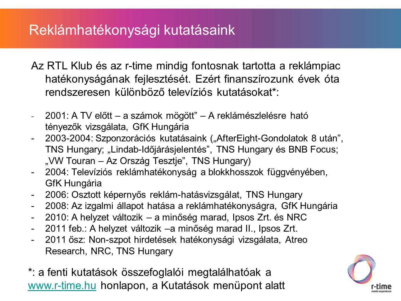 """2001: """"A tévé előtt- a számok mögött A kutatást a GfK Hungáriával készítettük Három fázisból állt: -Résztvevő, megfigyeléses szakasz: 12 háztartásban 5 órás """"beköltözés , együtt tévézés a kvalitatív kutatóval -4500 fős, személyes megkérdezés az előző napi televíziózás körülményeiről, műsorfigyelemről -2600 fős telefonos interjú, az éppen nézett reklámblokkal kapcsolatos kérdésekkel A kutatás legfontosabb megállapításai:"""