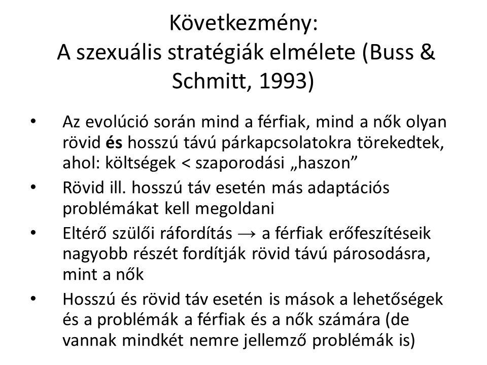 """Következmény: A szexuális stratégiák elmélete (Buss & Schmitt, 1993) Az evolúció során mind a férfiak, mind a nők olyan rövid és hosszú távú párkapcsolatokra törekedtek, ahol: költségek < szaporodási """"haszon Rövid ill."""